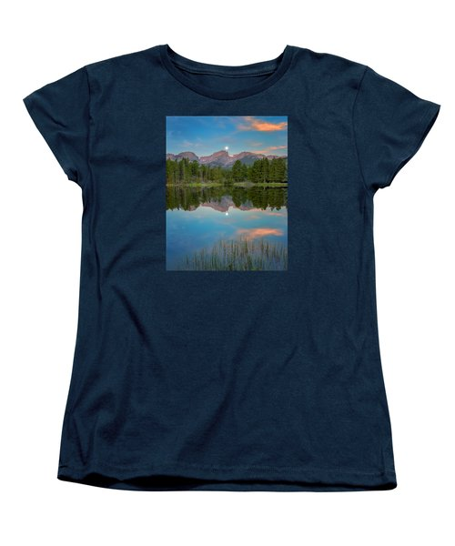 Full Moon Set Over Sprague Lake Women's T-Shirt (Standard Cut) by John Vose