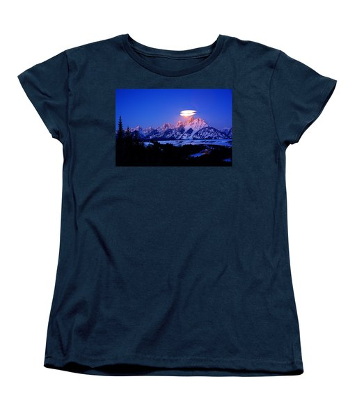 Moon Sets At The Snake River Overlook In The Tetons Women's T-Shirt (Standard Cut) by Raymond Salani III