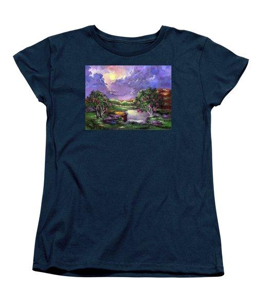 Moonlight In The Woods Women's T-Shirt (Standard Cut) by Randy Burns