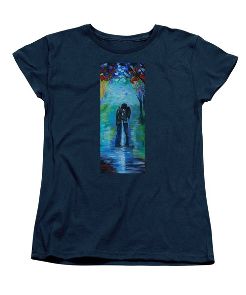 Women's T-Shirt (Standard Cut) featuring the painting Moonlight Kiss Series 1 by Leslie Allen