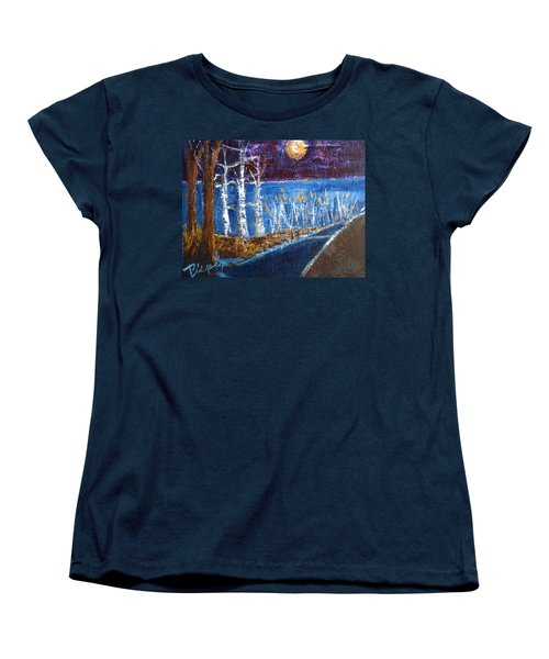 Women's T-Shirt (Standard Cut) featuring the painting Moonlight On Path To Beach by Betty Pieper