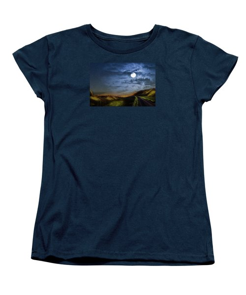 Moonlight Path Women's T-Shirt (Standard Cut) by Swank Photography