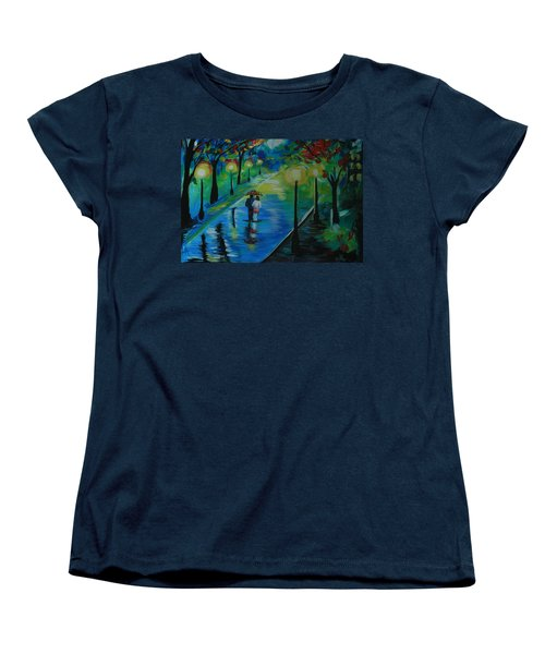 Women's T-Shirt (Standard Cut) featuring the painting Moonlight Stroll by Leslie Allen
