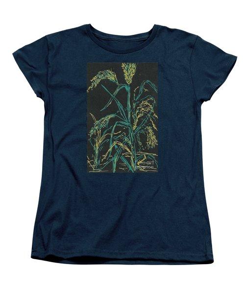 Women's T-Shirt (Standard Cut) featuring the mixed media Moonlight Wheat by Vicki  Housel