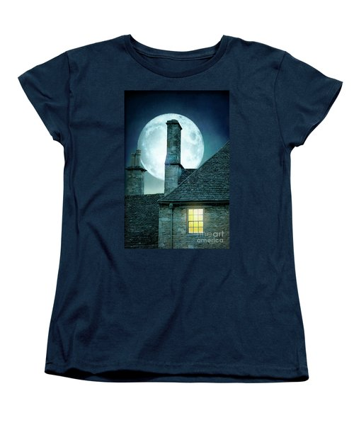 Moonlit Rooftops And Window Light  Women's T-Shirt (Standard Cut) by Lee Avison