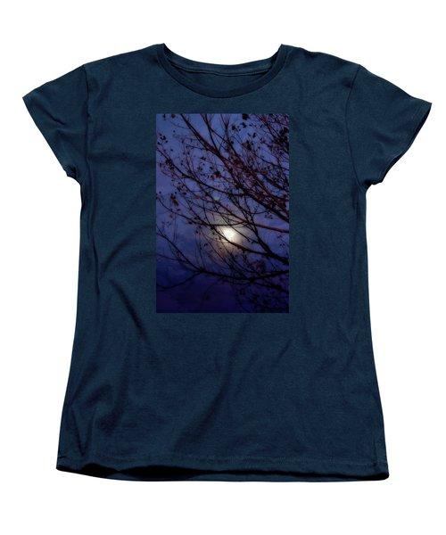 Women's T-Shirt (Standard Cut) featuring the photograph Moonrise by Ellen Heaverlo