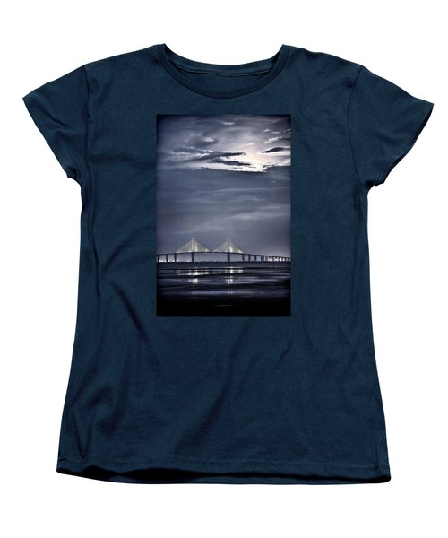 Women's T-Shirt (Standard Cut) featuring the photograph Moonrise Over Sunshine Skyway Bridge by Steven Sparks