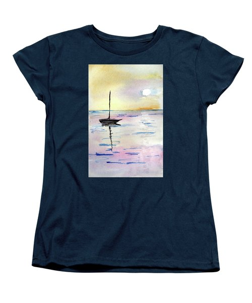 Moored Sailboat Women's T-Shirt (Standard Cut) by R Kyllo