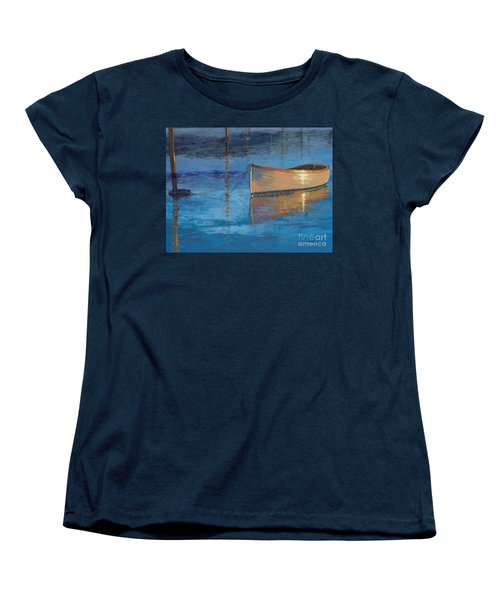 Women's T-Shirt (Standard Cut) featuring the painting Moored In Light-sold by Nancy Parsons