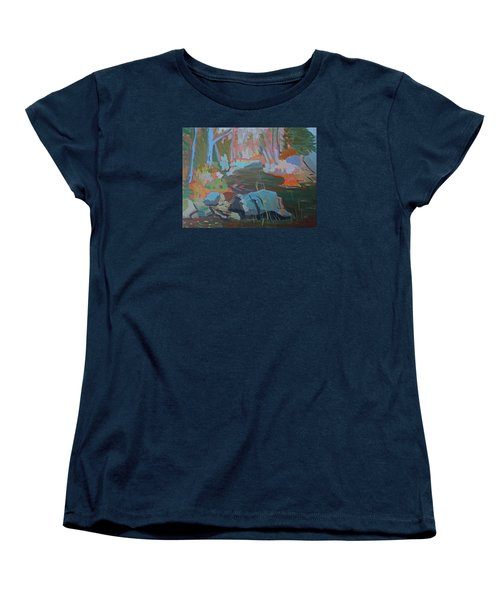 Women's T-Shirt (Standard Cut) featuring the painting Moose Lips Brook by Francine Frank