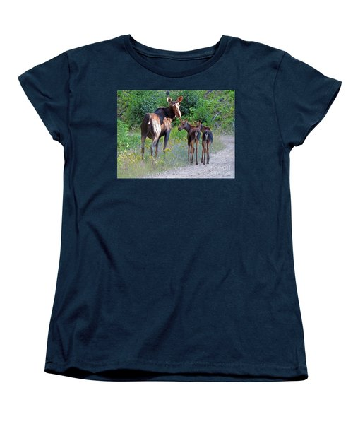 Moose Mom And Babies Women's T-Shirt (Standard Cut) by Cindy Murphy - NightVisions