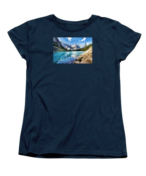 Moraine Lake At Banff National Park Women's T-Shirt (Standard Cut) by Lanjee Chee