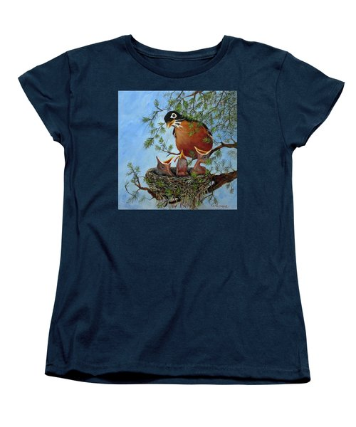 Women's T-Shirt (Standard Cut) featuring the painting More Food by Roseann Gilmore