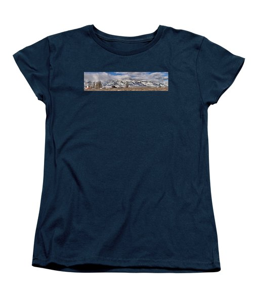 Women's T-Shirt (Standard Cut) featuring the photograph Mormon Row Extended Panorama by Adam Jewell