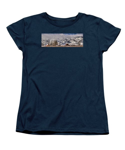 Women's T-Shirt (Standard Cut) featuring the photograph Mormon Row Winter Panorama by Adam Jewell