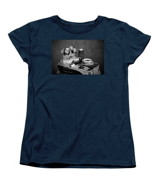 Women's T-Shirt (Standard Cut) featuring the photograph Morning Coffee And Reading Magazine Time by Sherry Hallemeier