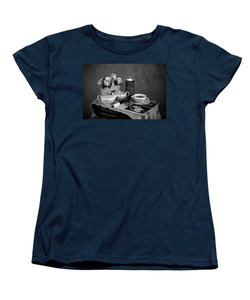 Morning Coffee And Reading Magazine Time Women's T-Shirt (Standard Cut) by Sherry Hallemeier