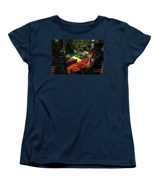 Women's T-Shirt (Standard Cut) featuring the photograph Morning Flower Market Colors by Mike Reid