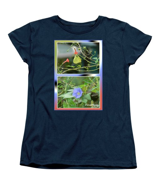 Women's T-Shirt (Standard Cut) featuring the photograph Morning Glories And Butterfly by EricaMaxine  Price