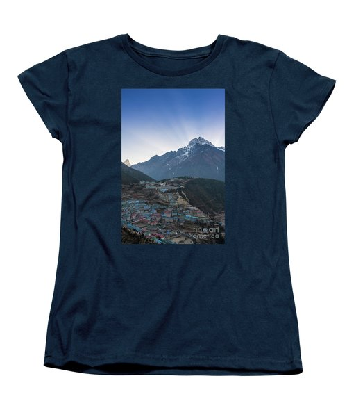 Women's T-Shirt (Standard Cut) featuring the photograph Morning Sunrays Namche by Mike Reid
