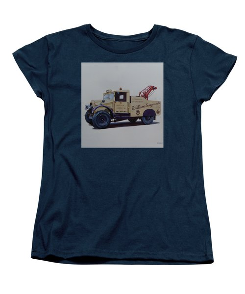 Women's T-Shirt (Standard Cut) featuring the painting Morris Commercial Wrecker. by Mike Jeffries