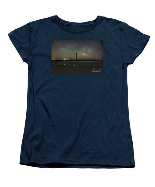 Morris Island Light House Milky Way Women's T-Shirt (Standard Cut) by Robert Loe