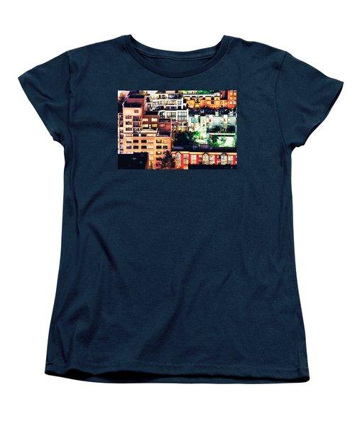 Mosaic Juxtaposition By Night Women's T-Shirt (Standard Cut) by Amyn Nasser