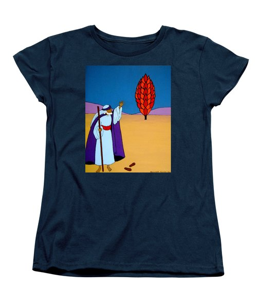 Women's T-Shirt (Standard Cut) featuring the painting Moses And The Burning Bush by Stephanie Moore