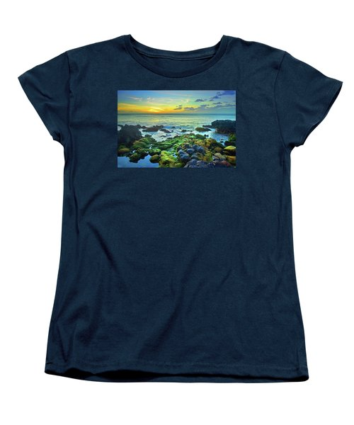 Women's T-Shirt (Standard Cut) featuring the photograph Moss Covered Rocks At Sunset In Molokai by Tara Turner