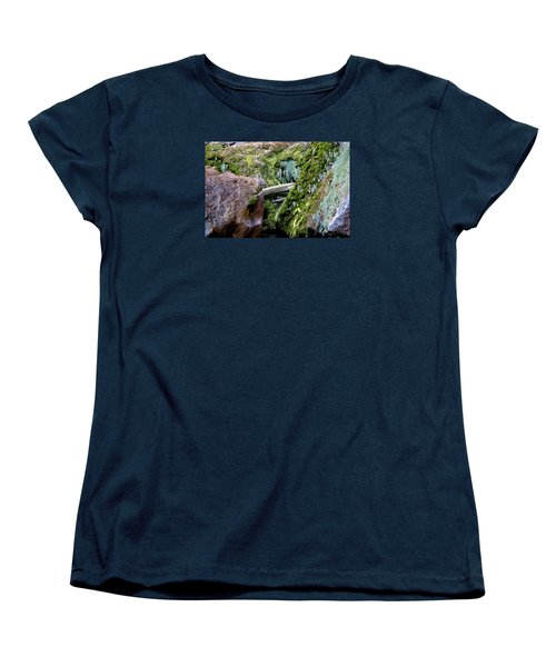 Women's T-Shirt (Standard Cut) featuring the photograph Mossy Rocks by Phyllis Denton