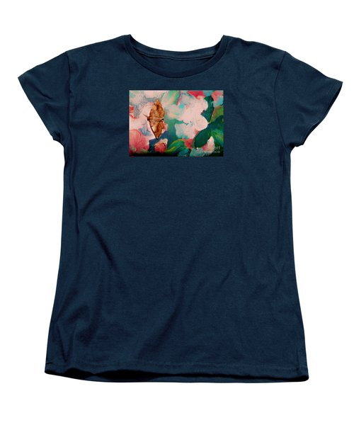 Moth On Painting Women's T-Shirt (Standard Cut) by Shirley Moravec