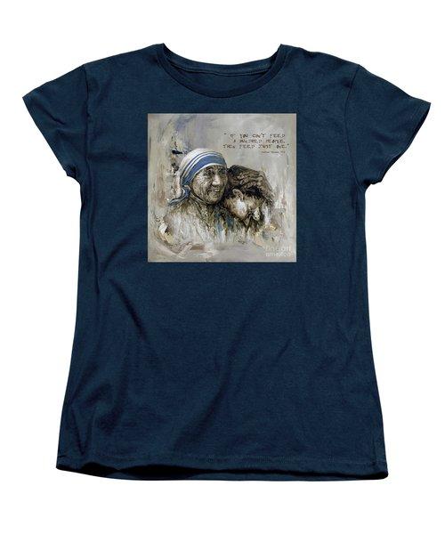 Women's T-Shirt (Standard Cut) featuring the painting Mother Teresa Portrait  by Gull G