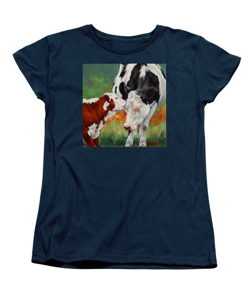 Women's T-Shirt (Standard Cut) featuring the painting Mothers Little Helper by Margaret Stockdale