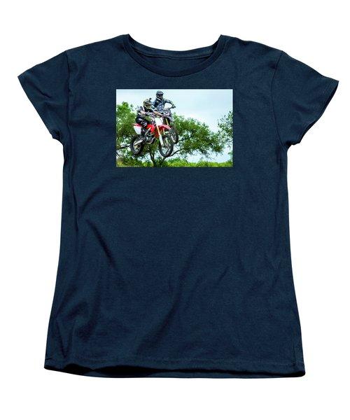 Women's T-Shirt (Standard Cut) featuring the photograph Motocross Battle by David Morefield