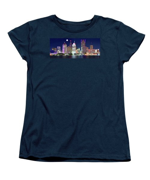 Women's T-Shirt (Standard Cut) featuring the photograph Motor City Night With Full Moon by Frozen in Time Fine Art Photography