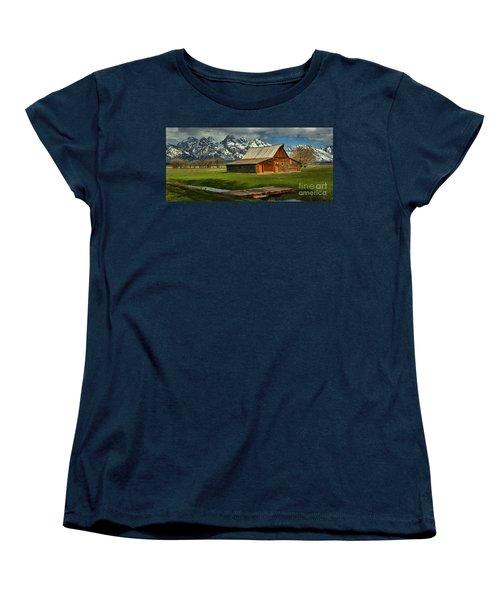 Moulton Barn Springtime Panorama Women's T-Shirt (Standard Cut) by Adam Jewell