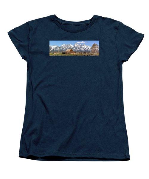 Moulton Barn Blue Sky Panorama Women's T-Shirt (Standard Cut) by Adam Jewell