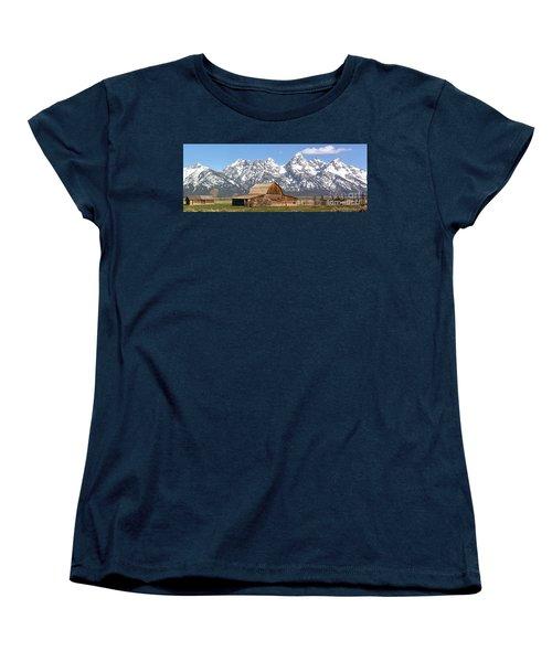 Moulton Barn Homestead Spring Panorama Women's T-Shirt (Standard Cut) by Adam Jewell