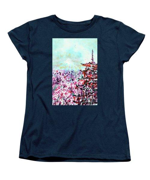 Women's T-Shirt (Standard Cut) featuring the painting Mount Fuji And The Chureito Pagoda In Spring by Zaira Dzhaubaeva
