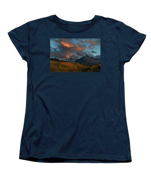 Mount Sneffels Sunset During Autumn In Colorado Women's T-Shirt (Standard Cut) by Jetson Nguyen