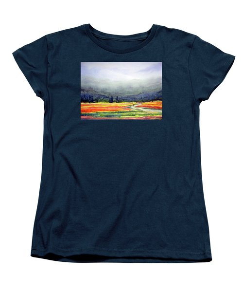 Mountain Flowers Valley Women's T-Shirt (Standard Cut) by Samiran Sarkar