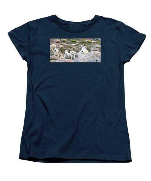 Women's T-Shirt (Standard Cut) featuring the photograph Mountain Goat Family Panorama by Scott Mahon