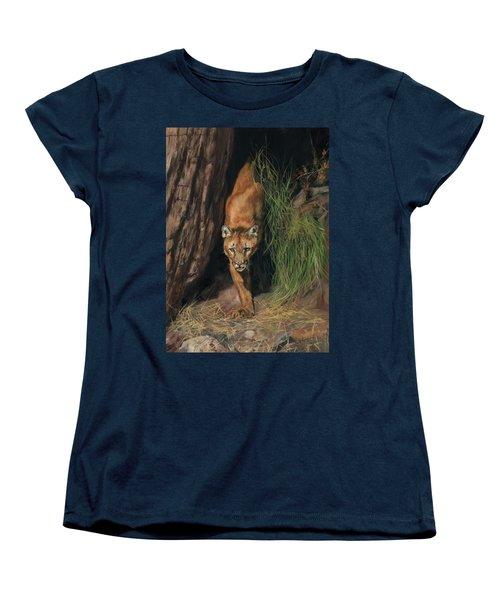 Mountain Lion Emerging From Shadows Women's T-Shirt (Standard Cut) by David Stribbling