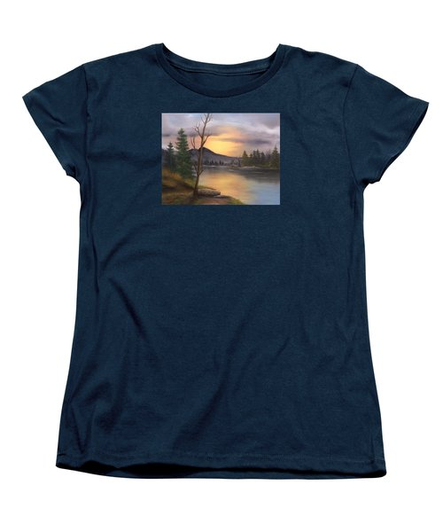 Women's T-Shirt (Standard Cut) featuring the painting Mountain Paradise by Sheri Keith