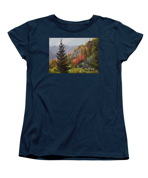 Mountain Slope Fall Women's T-Shirt (Standard Cut) by Lori Brackett
