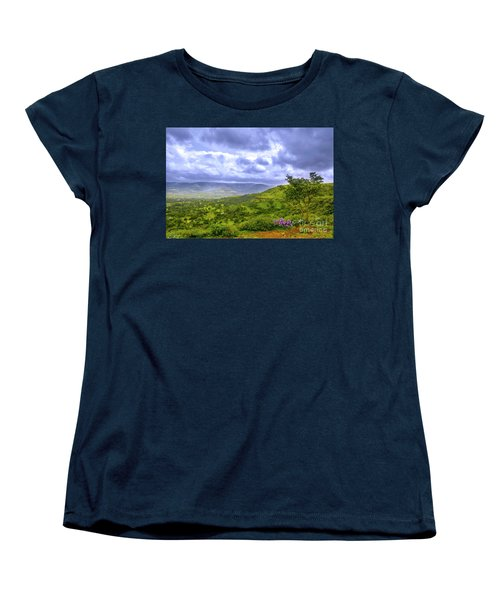 Women's T-Shirt (Standard Cut) featuring the photograph Mountain View by Charuhas Images
