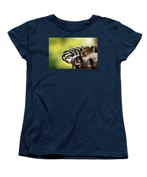 Women's T-Shirt (Standard Cut) featuring the photograph Mourning Dove In A Flower Planter by Debbie Oppermann