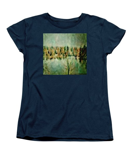 Women's T-Shirt (Standard Cut) featuring the painting Movie A Chance In The World Placid Lake Frozen In The Winter Fall Ice Bitter Cold Uninviting Cool Pa by MendyZ