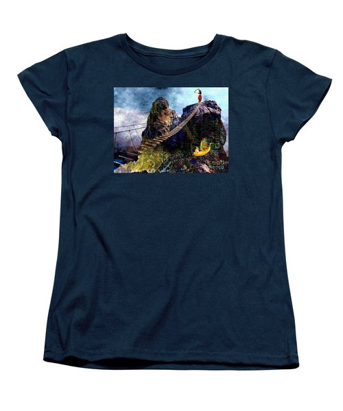 Women's T-Shirt (Standard Cut) featuring the painting Moving Sideways by Mojo Mendiola