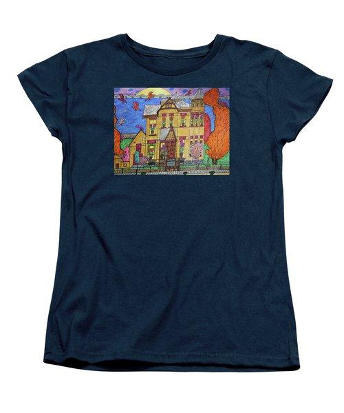 Women's T-Shirt (Standard Cut) featuring the drawing Mrs. Robert Stephenson Home. by Jonathon Hansen